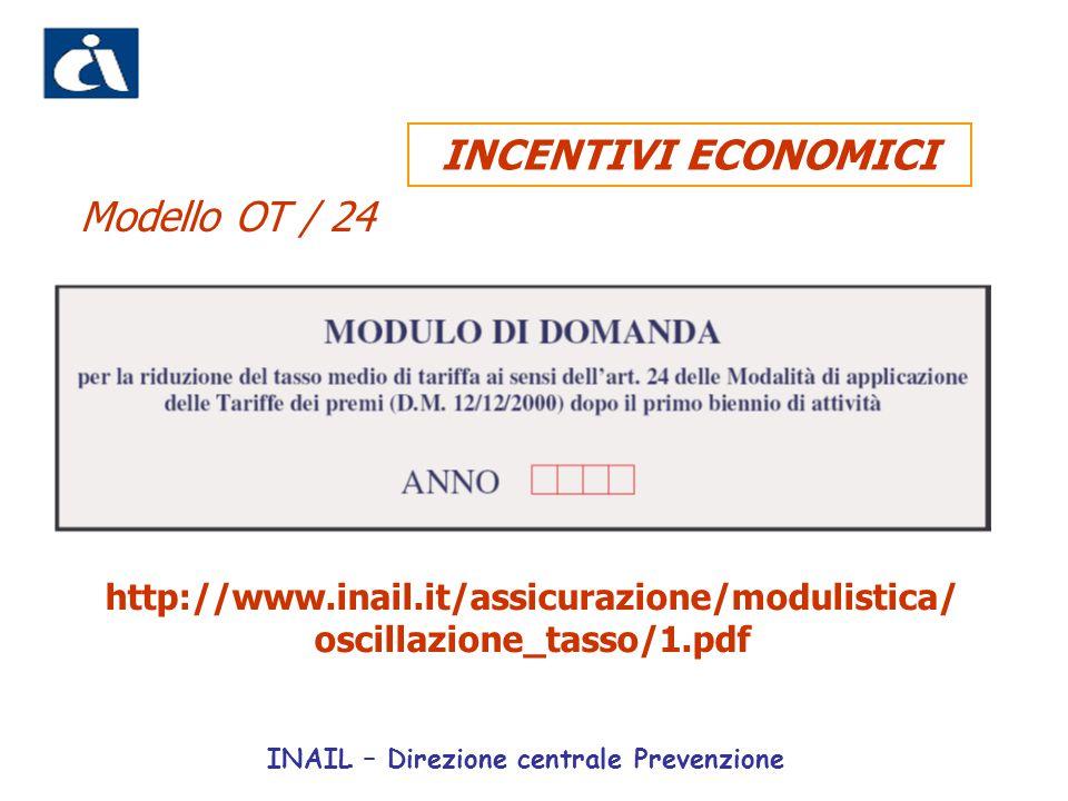 http://www.inail.it/assicurazione/modulistica/ oscillazione_tasso/1.pdf Modello OT / 24 INCENTIVI ECONOMICI INAIL – Direzione centrale Prevenzione