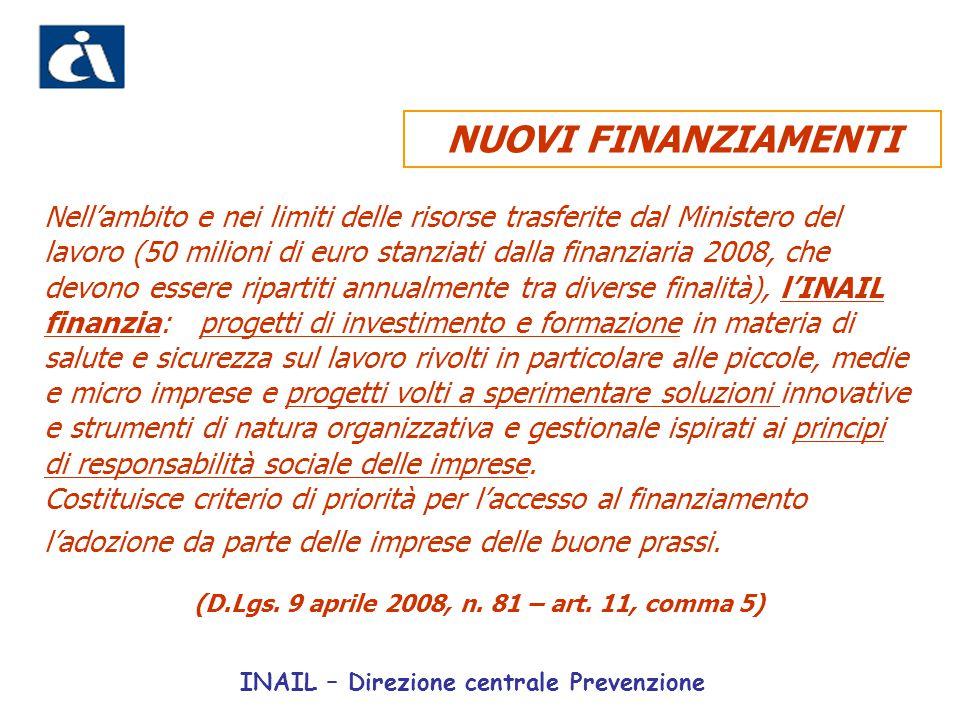 Nell'ambito e nei limiti delle risorse trasferite dal Ministero del lavoro (50 milioni di euro stanziati dalla finanziaria 2008, che devono essere rip