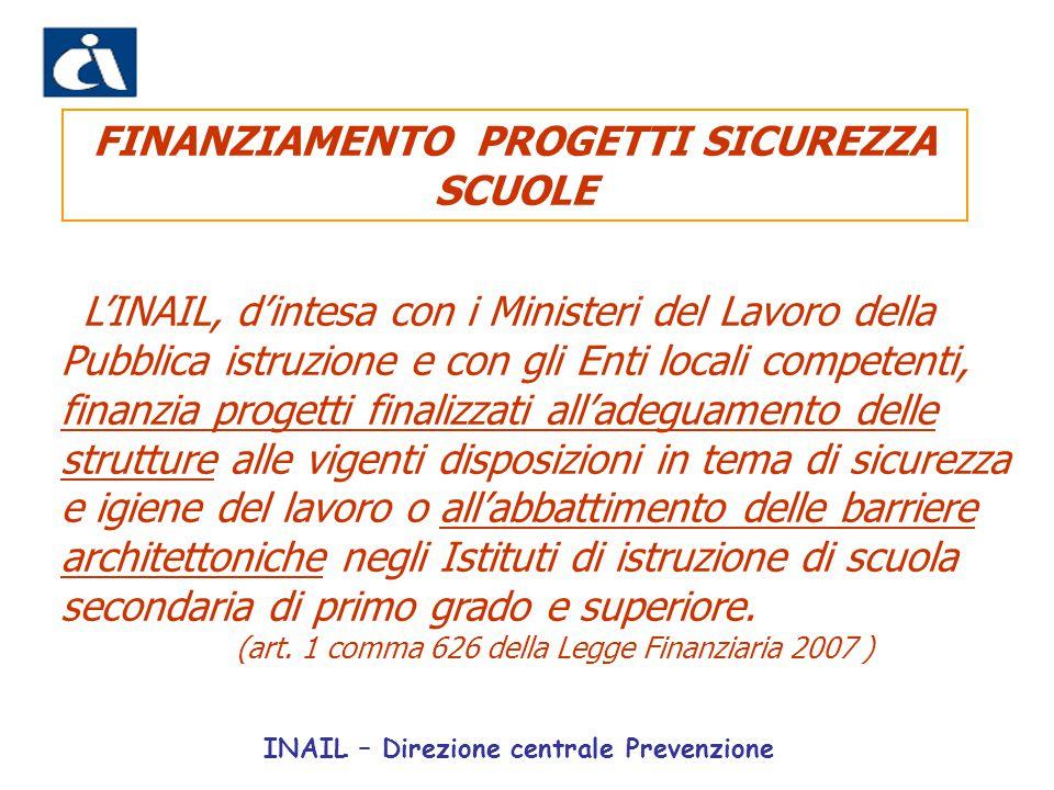 L'INAIL, d'intesa con i Ministeri del Lavoro della Pubblica istruzione e con gli Enti locali competenti, finanzia progetti finalizzati all'adeguamento