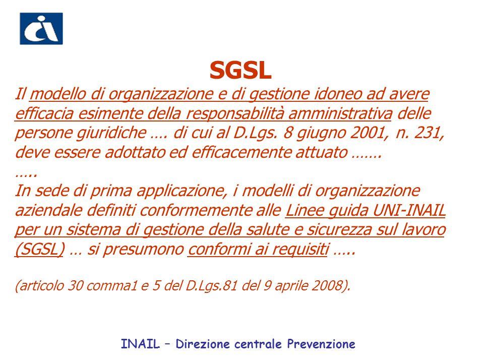 SGSL Il modello di organizzazione e di gestione idoneo ad avere efficacia esimente della responsabilità amministrativa delle persone giuridiche …. di