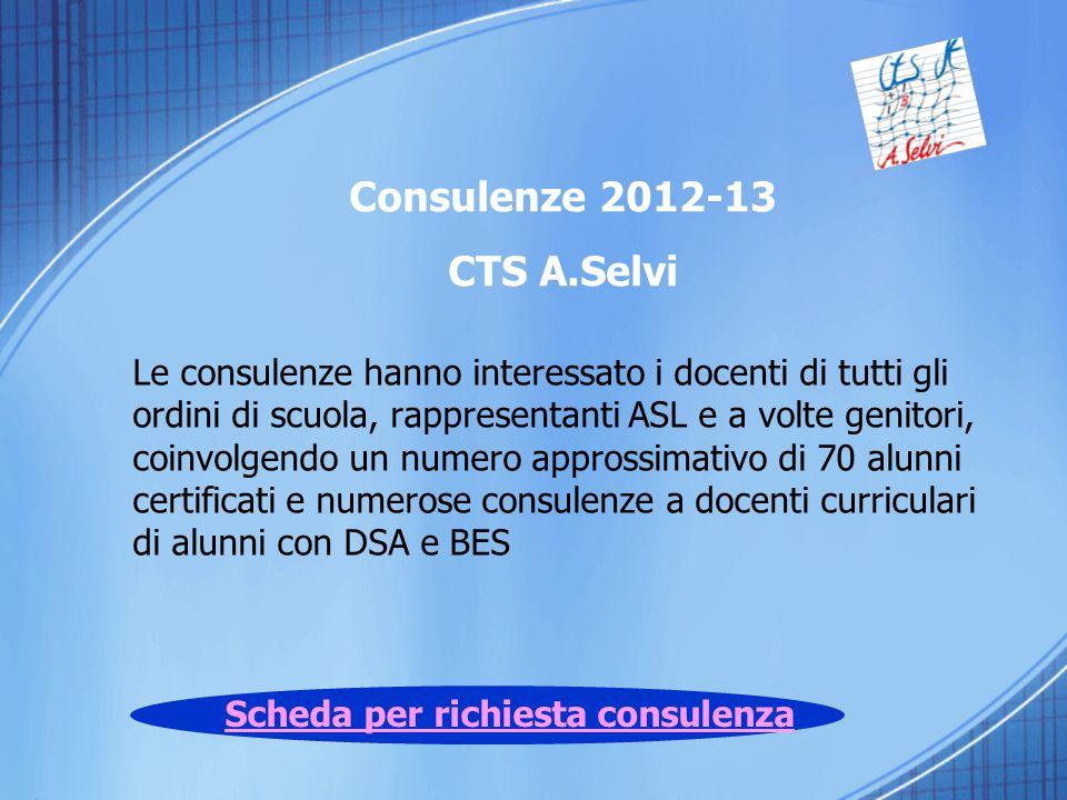 Scheda per richiesta consulenza Le consulenze hanno interessato i docenti di tutti gli ordini di scuola, rappresentanti ASL e a volte genitori, coinvo