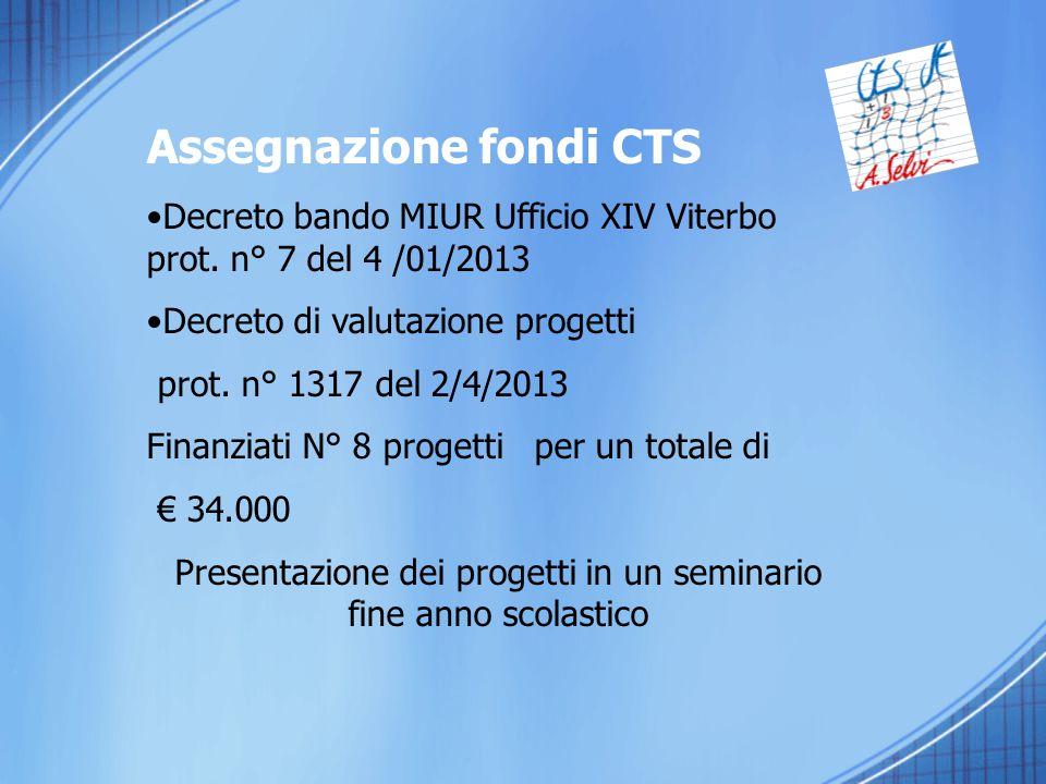 Assegnazione fondi CTS Decreto bando MIUR Ufficio XIV Viterbo prot. n° 7 del 4 /01/2013 Decreto di valutazione progetti prot. n° 1317 del 2/4/2013 Fin
