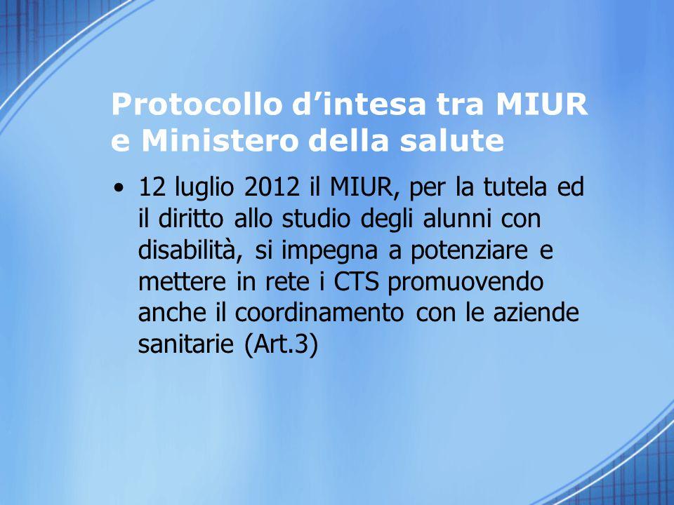 12 luglio 2012 il MIUR, per la tutela ed il diritto allo studio degli alunni con disabilità, si impegna a potenziare e mettere in rete i CTS promuoven