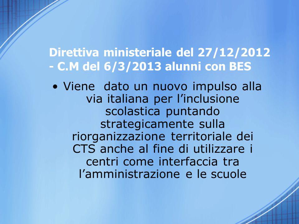 Viene dato un nuovo impulso alla via italiana per l'inclusione scolastica puntando strategicamente sulla riorganizzazione territoriale dei CTS anche a