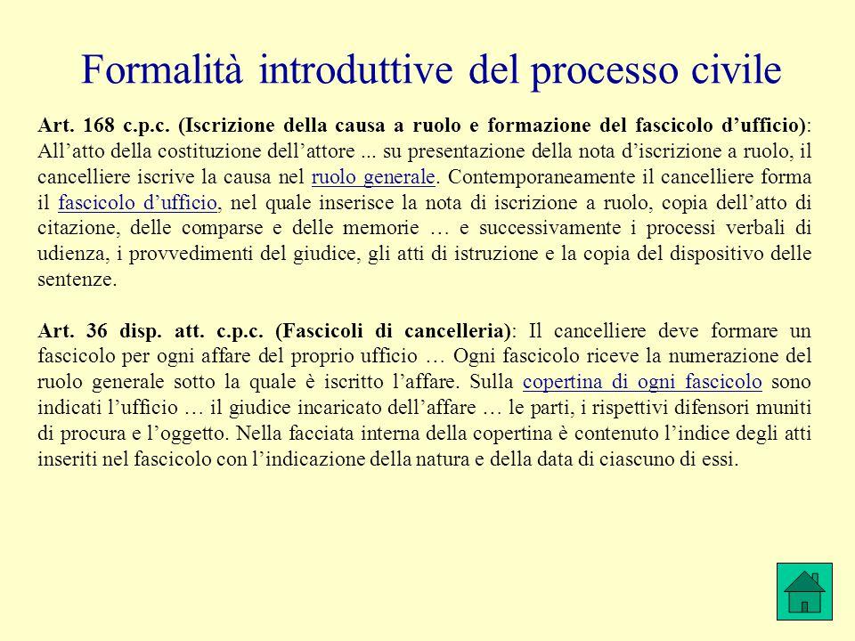Formalità introduttive del processo civile Art. 168 c.p.c. (Iscrizione della causa a ruolo e formazione del fascicolo d'ufficio): All'atto della costi
