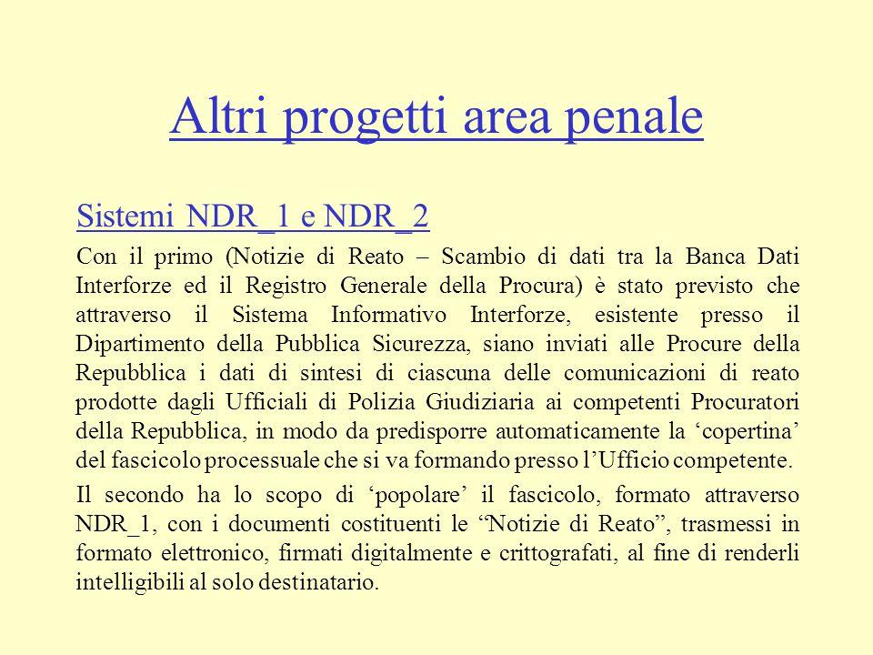 Altri progetti area penale Sistemi NDR_1 e NDR_2 Con il primo (Notizie di Reato – Scambio di dati tra la Banca Dati Interforze ed il Registro Generale