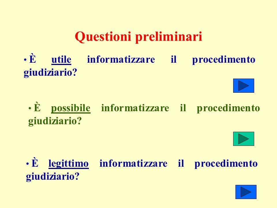 Questioni preliminari È utile informatizzare il procedimento giudiziario? È possibile informatizzare il procedimento giudiziario? È legittimo informat