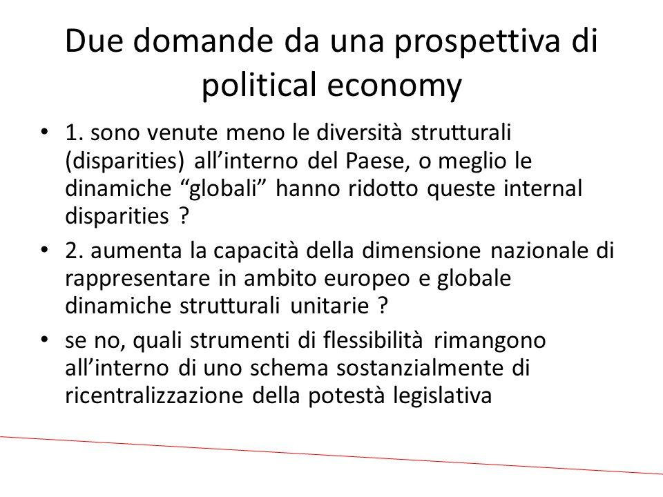 Due domande da una prospettiva di political economy 1.