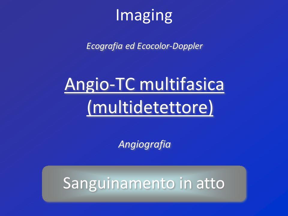 Imaging Ecografia ed Ecocolor-Doppler Angio-TC multifasica (multidetettore) Angiografia Ecografia ed Ecocolor-Doppler Angio-TC multifasica (multidetet