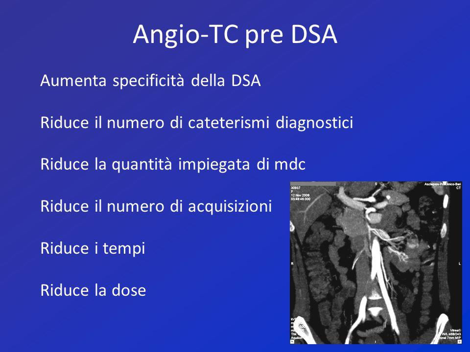 Angio-TC pre DSA Aumenta specificità della DSA Riduce il numero di cateterismi diagnostici Riduce la quantità impiegata di mdc Riduce il numero di acq