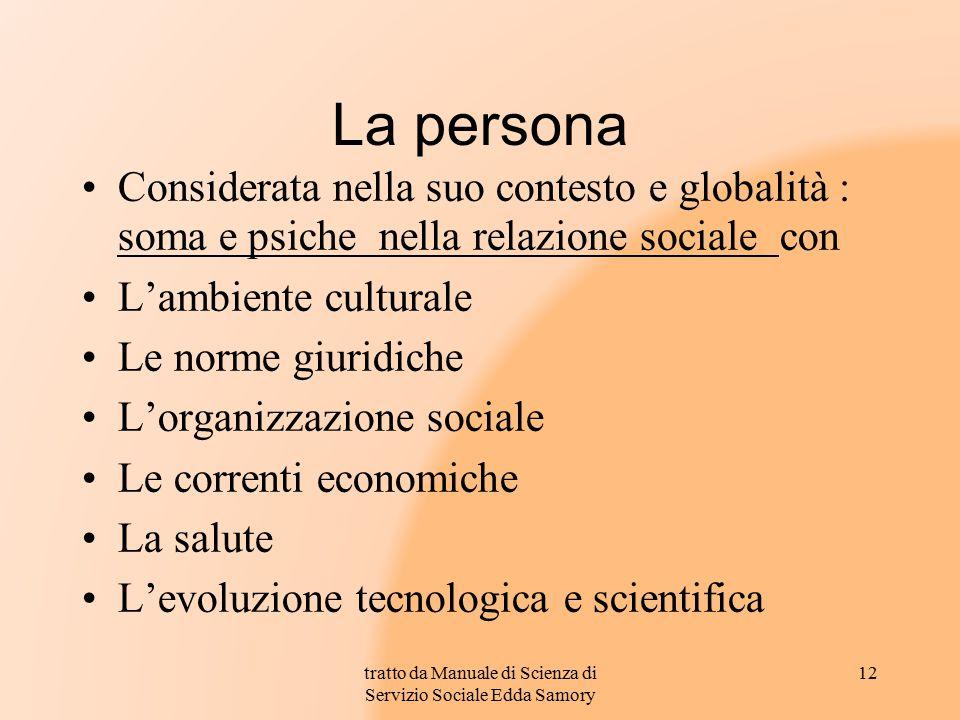 La persona Considerata nella suo contesto e globalità : soma e psiche nella relazione sociale con L'ambiente culturale Le norme giuridiche L'organizza