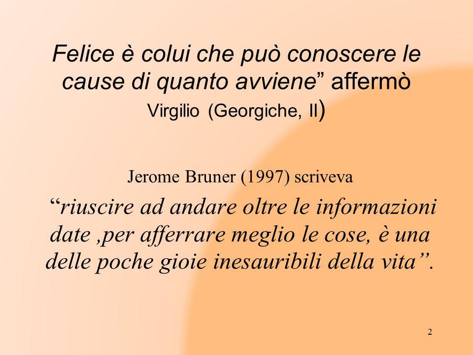 """Felice è colui che può conoscere le cause di quanto avviene"""" affermò Virgilio (Georgiche, II ) Jerome Bruner (1997) scriveva """"riuscire ad andare oltre"""