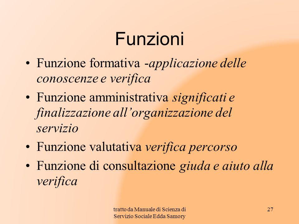 Funzioni Funzione formativa -applicazione delle conoscenze e verifica Funzione amministrativa significati e finalizzazione all'organizzazione del serv