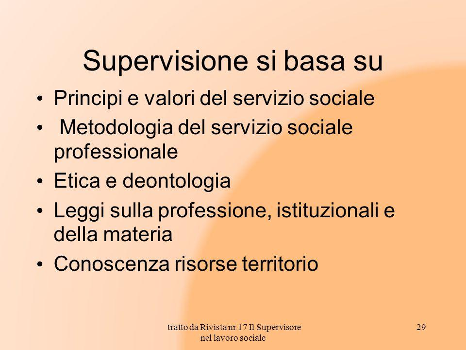 Supervisione si basa su Principi e valori del servizio sociale Metodologia del servizio sociale professionale Etica e deontologia Leggi sulla professi