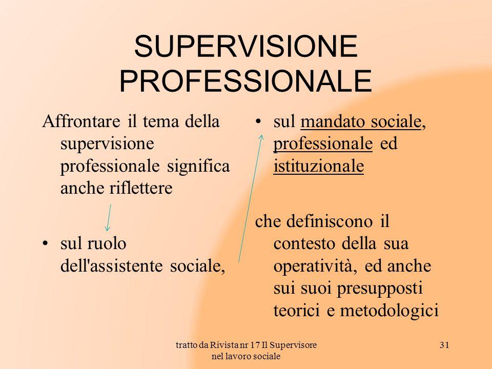 SUPERVISIONE PROFESSIONALE Affrontare il tema della supervisione professionale significa anche riflettere sul ruolo dell'assistente sociale, sul manda