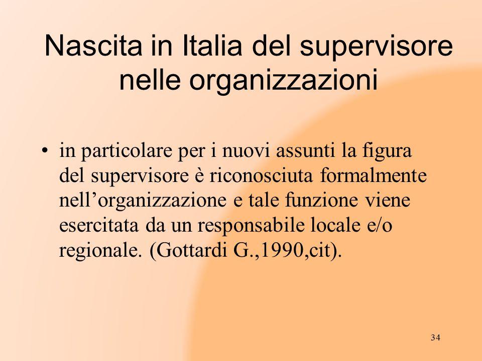 Nascita in Italia del supervisore nelle organizzazioni in particolare per i nuovi assunti la figura del supervisore è riconosciuta formalmente nell'or