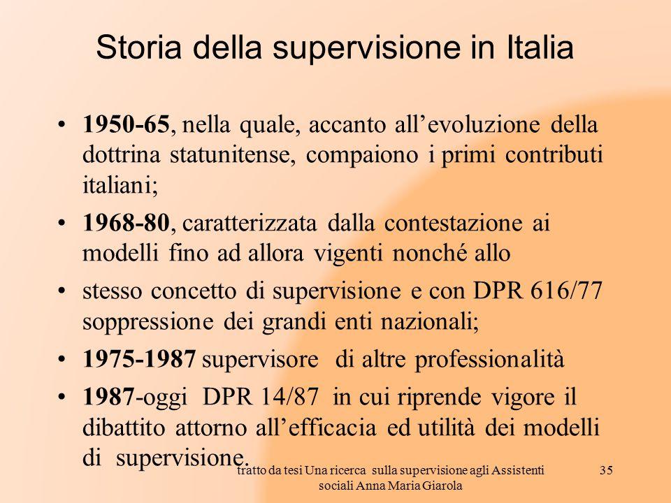 Storia della supervisione in Italia 1950-65, nella quale, accanto all'evoluzione della dottrina statunitense, compaiono i primi contributi italiani; 1