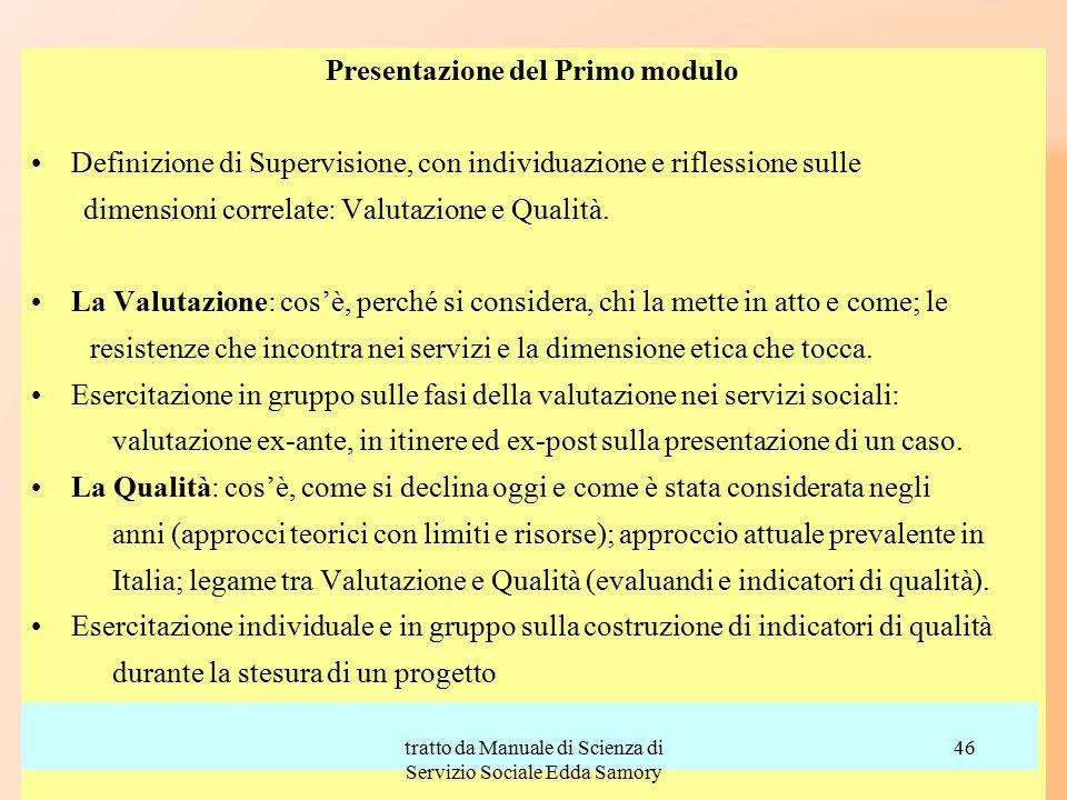 Presentazione del Primo modulo Definizione di Supervisione, con individuazione e riflessione sulle dimensioni correlate: Valutazione e Qualità. La Val