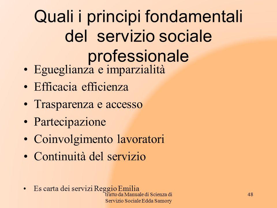 Quali i principi fondamentali del servizio sociale professionale Egueglianza e imparzialità Efficacia efficienza Trasparenza e accesso Partecipazione