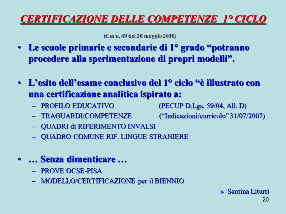 20 CERTIFICAZIONE DELLE COMPETENZE 1° CICLO (Cm n.