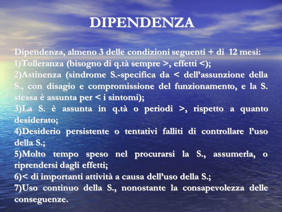 DIPENDENZA Dipendenza, almeno 3 delle condizioni seguenti + di 12 mesi: 1)Tolleranza (bisogno di q.tà sempre >, effetti, effetti <); 2)Astinenza (sind