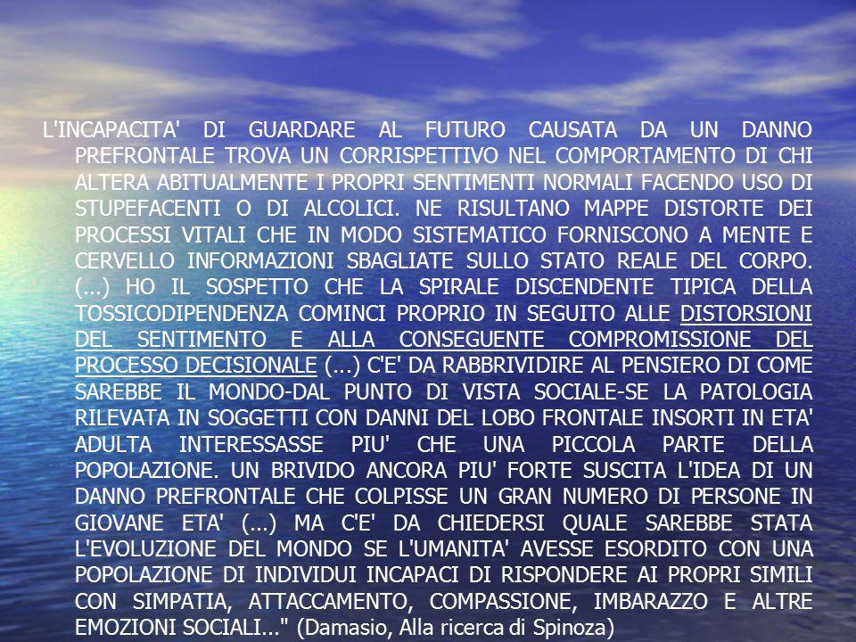 L'INCAPACITA' DI GUARDARE AL FUTURO CAUSATA DA UN DANNO PREFRONTALE TROVA UN CORRISPETTIVO NEL COMPORTAMENTO DI CHI ALTERA ABITUALMENTE I PROPRI SENTI
