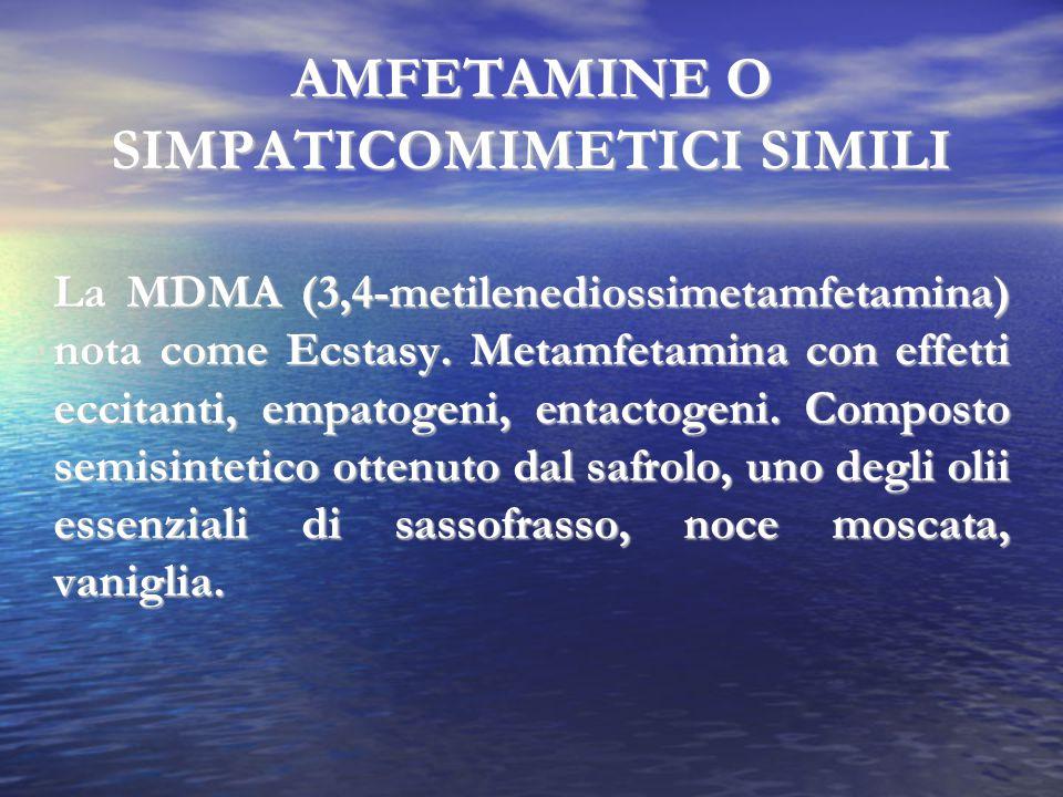 AMFETAMINE O SIMPATICOMIMETICI SIMILI La MDMA (3,4-metilenediossimetamfetamina) nota come Ecstasy. Metamfetamina con effetti eccitanti, empatogeni, en