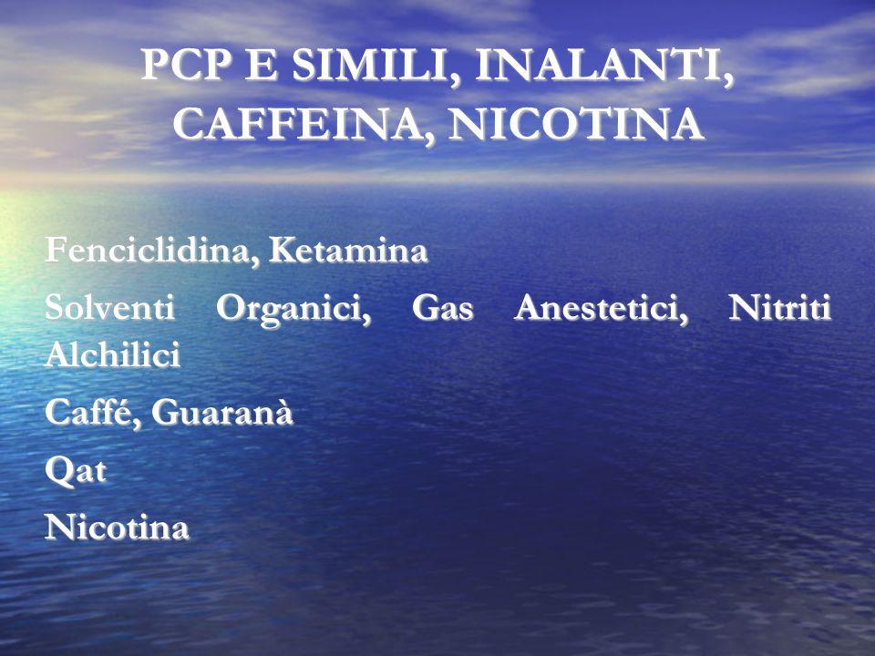 PCP E SIMILI, INALANTI, CAFFEINA, NICOTINA Fenciclidina, Ketamina Solventi Organici, Gas Anestetici, Nitriti Alchilici Caffé, Guaranà QatNicotina