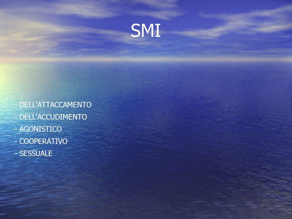 SMI - DELL'ATTACCAMENTO - DELL'ACCUDIMENTO - AGONISTICO - COOPERATIVO - SESSUALE