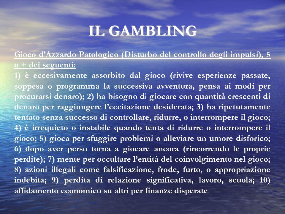 IL GAMBLING Gioco d'Azzardo Patologico (Disturbo del controllo degli impulsi), 5 o + dei seguenti: 1) è eccesivamente assorbito dal gioco (rivive espe
