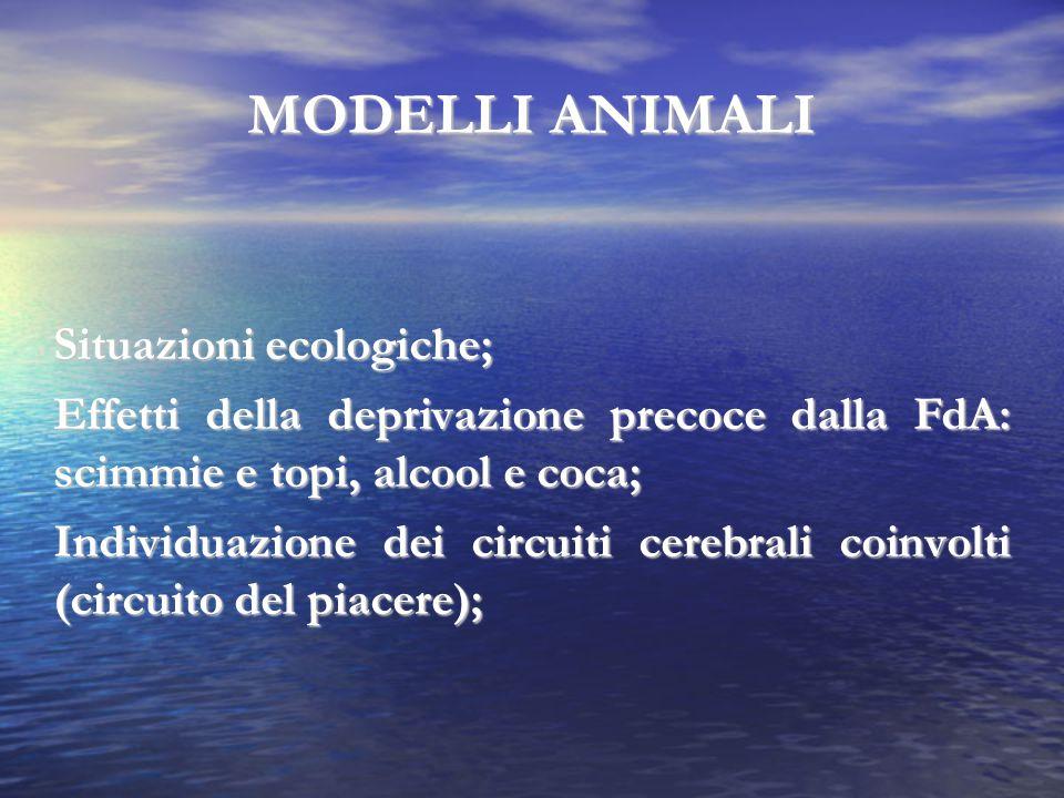 MODELLI ANIMALI Situazioni ecologiche; Effetti della deprivazione precoce dalla FdA: scimmie e topi, alcool e coca; Individuazione dei circuiti cerebr