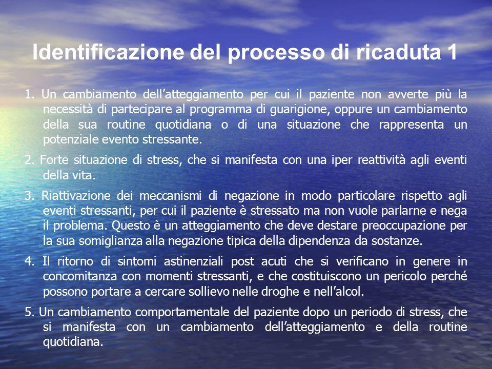 Identificazione del processo di ricaduta 1 1. Un cambiamento dell'atteggiamento per cui il paziente non avverte più la necessità di partecipare al pro