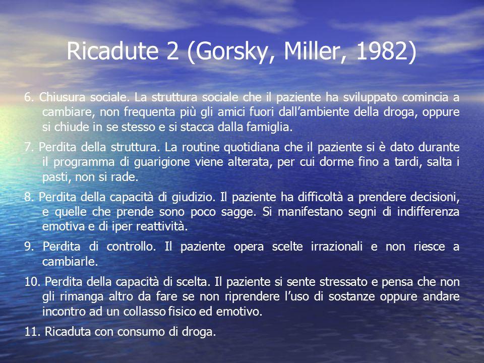 Ricadute 2 (Gorsky, Miller, 1982) 6. Chiusura sociale. La struttura sociale che il paziente ha sviluppato comincia a cambiare, non frequenta più gli a