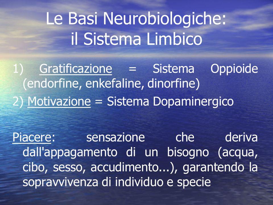 Le Basi Neurobiologiche: il Sistema Limbico 1) Gratificazione = Sistema Oppioide (endorfine, enkefaline, dinorfine) 2) Motivazione = Sistema Dopaminer