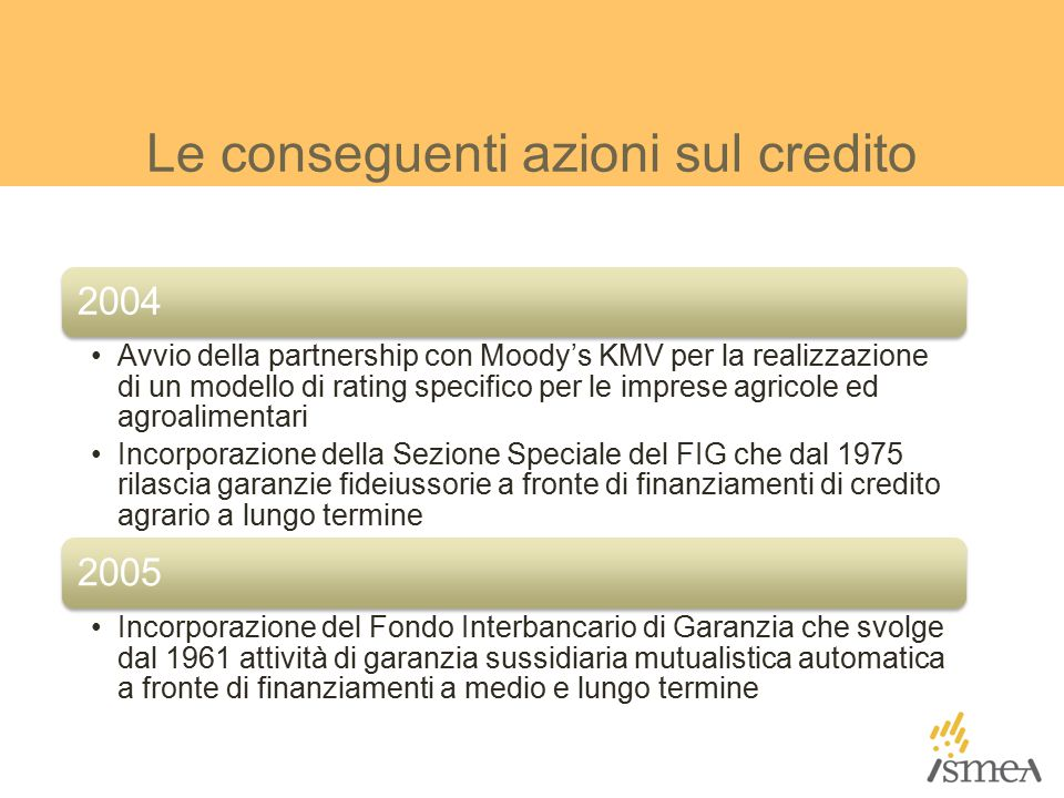 Le conseguenti azioni sul credito 2004 Avvio della partnership con Moody's KMV per la realizzazione di un modello di rating specifico per le imprese agricole ed agroalimentari Incorporazione della Sezione Speciale del FIG che dal 1975 rilascia garanzie fideiussorie a fronte di finanziamenti di credito agrario a lungo termine 2005 Incorporazione del Fondo Interbancario di Garanzia che svolge dal 1961 attività di garanzia sussidiaria mutualistica automatica a fronte di finanziamenti a medio e lungo termine