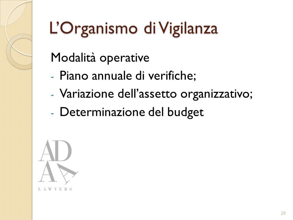 L'Organismo di Vigilanza Modalità operative - Piano annuale di verifiche; - Variazione dell'assetto organizzativo; - Determinazione del budget 29