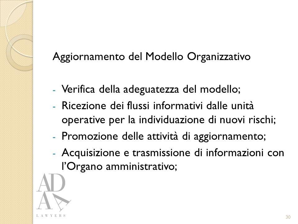 Aggiornamento del Modello Organizzativo - Verifica della adeguatezza del modello; - Ricezione dei flussi informativi dalle unità operative per la individuazione di nuovi rischi; - Promozione delle attività di aggiornamento; - Acquisizione e trasmissione di informazioni con l'Organo amministrativo; 30