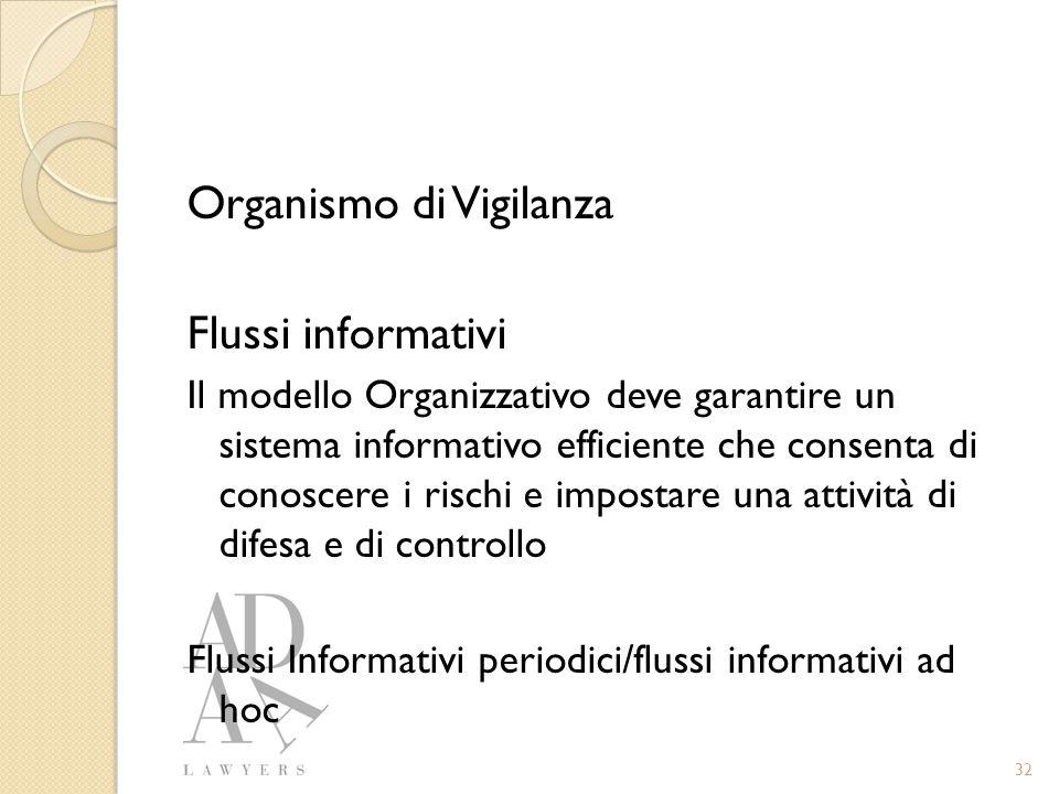 Organismo di Vigilanza Flussi informativi Il modello Organizzativo deve garantire un sistema informativo efficiente che consenta di conoscere i rischi e impostare una attività di difesa e di controllo Flussi Informativi periodici/flussi informativi ad hoc 32