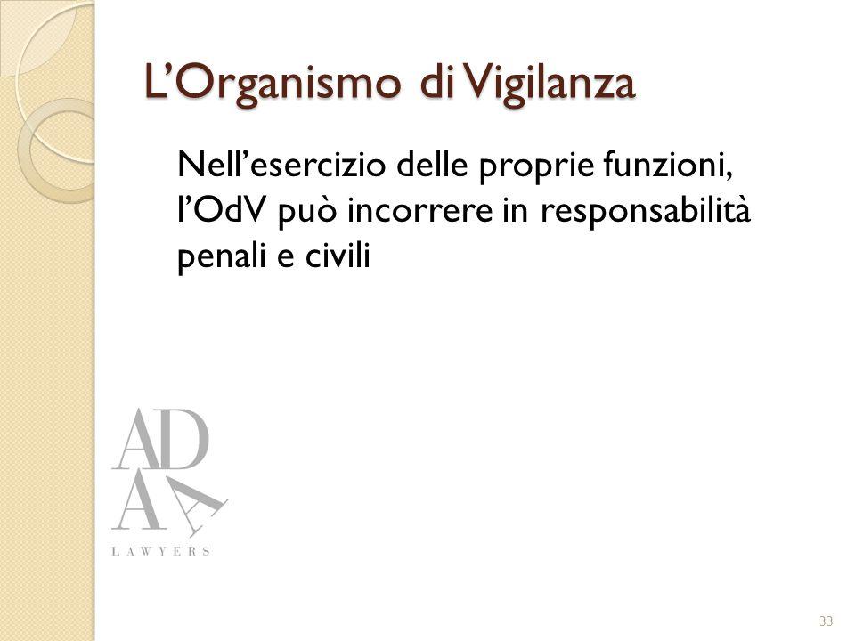 L'Organismo di Vigilanza Nell'esercizio delle proprie funzioni, l'OdV può incorrere in responsabilità penali e civili 33