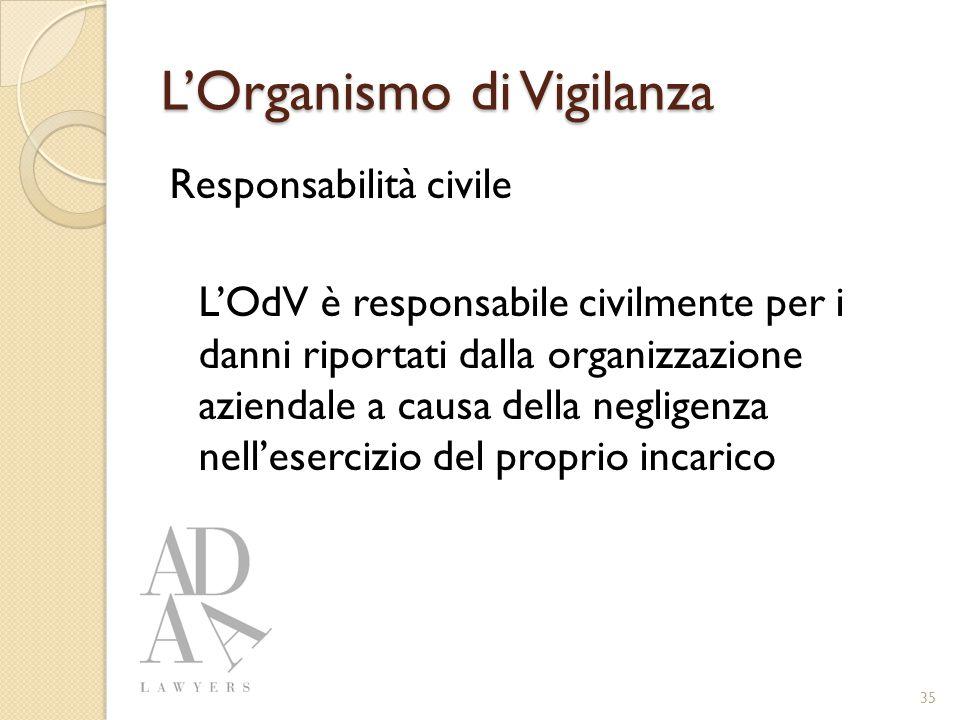 L'Organismo di Vigilanza Responsabilità civile L'OdV è responsabile civilmente per i danni riportati dalla organizzazione aziendale a causa della negligenza nell'esercizio del proprio incarico 35