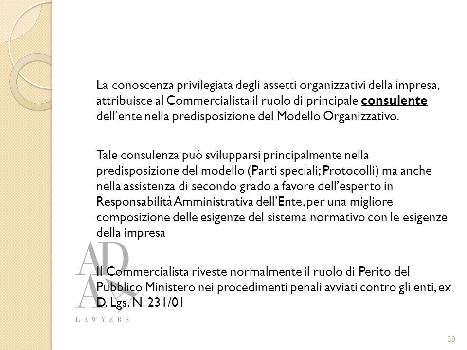 La conoscenza privilegiata degli assetti organizzativi della impresa, attribuisce al Commercialista il ruolo di principale consulente dell'ente nella predisposizione del Modello Organizzativo.