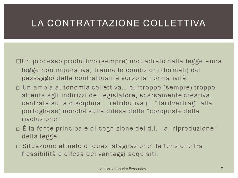 □ Un processo produttivo (sempre) inquadrato dalla legge –una legge non imperativa, tranne le condizioni (formali) del passaggio dalla contrattualità verso la normatività.