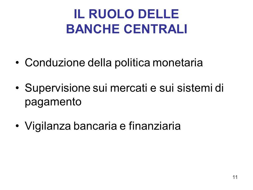 IL RUOLO DELLE BANCHE CENTRALI Conduzione della politica monetaria Supervisione sui mercati e sui sistemi di pagamento Vigilanza bancaria e finanziari
