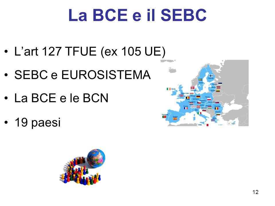La BCE e il SEBC L'art 127 TFUE (ex 105 UE) SEBC e EUROSISTEMA La BCE e le BCN 19 paesi 12