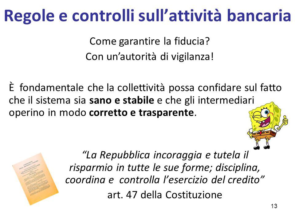 """Regole e controlli sull'attività bancaria """"La Repubblica incoraggia e tutela il risparmio in tutte le sue forme; disciplina, coordina e controlla l'es"""