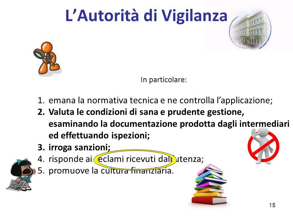 L'Autorità di Vigilanza In particolare: 1.emana la normativa tecnica e ne controlla l'applicazione; 2.Valuta le condizioni di sana e prudente gestione