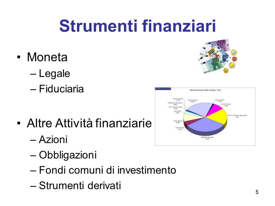 Strumenti finanziari Moneta –Legale –Fiduciaria Altre Attività finanziarie –Azioni –Obbligazioni –Fondi comuni di investimento –Strumenti derivati 5