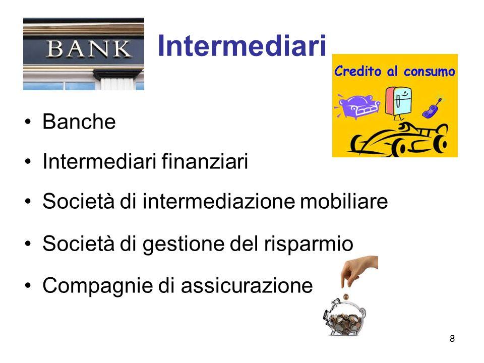 Intermediari Banche Intermediari finanziari Società di intermediazione mobiliare Società di gestione del risparmio Compagnie di assicurazione 8