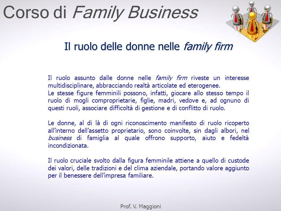 Il ruolo assunto dalle donne nelle family firm riveste un interesse multidisciplinare, abbracciando realtà articolate ed eterogenee. Le stesse figure