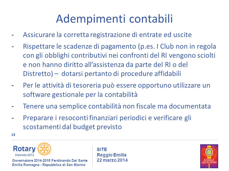 23 SITE Reggio Emilia 22 marzo 2014 Adempimenti contabili -Assicurare la corretta registrazione di entrate ed uscite -Rispettare le scadenze di pagamento (p.es.